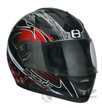 Integrální helma Speeds Race Grafik stříbrná / červená