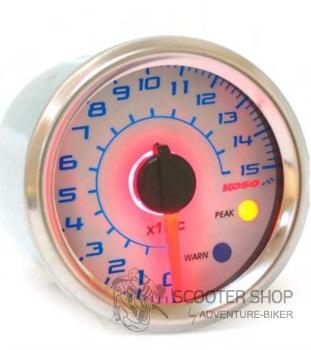 Analogový teploměr na skútr KOSO, GP Style mini, bílý