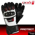 Rukavice na skútr letní SPEEDS PROTECT černo/bílé - 8 velikostí